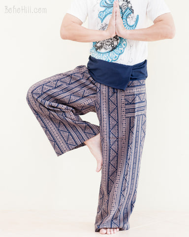 thai fisherman pants full length high quality cotton handmade wrap around fold over loose fit flexible yoga trousers inca triangle tribal stripe blue dance
