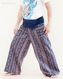 thai fisherman pants full length high quality cotton handmade wrap around fold over loose fit flexible yoga trousers inca triangle tribal stripe blue side