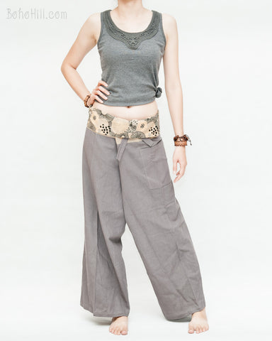 thai fisherman pants size m medium straight slim petite versatile wrap around fold over waist airy relaxed loose fit yoga pants drop crotch tribal lotus mushroom spore plain solid gray lean