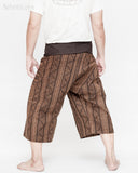 thai fisherman short capri loose fit wrap around fold over waist yoga shin length summer trousers mountain tribal triangle striped motif high quality cotton brown back