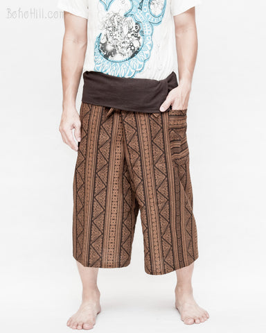 thai fisherman short capri loose fit wrap around fold over waist yoga shin length summer trousers mountain tribal triangle striped motif high quality cotton brown front