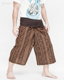 thai fisherman short capri loose fit wrap around fold over waist yoga shin length summer trousers mountain tribal triangle striped motif high quality cotton brown side