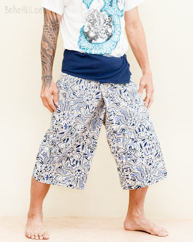 thai fisherman shorts cropped length wrap around fold over waist relaxed loose fit unisex yoga pants african primitive fish fun design porcelain blue white side