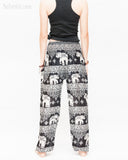 thai kanok ornament elephant yoga pants soft rayon loose fit genie aladdin bloomers trousers shirred waist black back1