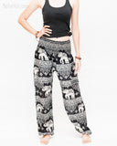 thai kanok ornament elephant yoga pants soft rayon loose fit genie aladdin bloomers trousers shirred waist black front