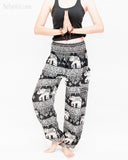 thai kanok ornament elephant yoga pants soft rayon loose fit genie aladdin bloomers trousers shirred waist black namaste