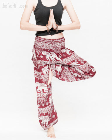 thai kanok ornament elephant yoga pants soft rayon loose fit genie aladdin bloomers trousers shirred waist burgundy namaste