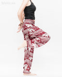 thai kanok ornament elephant yoga pants soft rayon loose fit genie aladdin bloomers trousers shirred waist burgundy side
