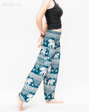 thai kanok ornament elephant yoga pants soft rayon loose fit genie aladdin bloomers trousers shirred waist teal blue side