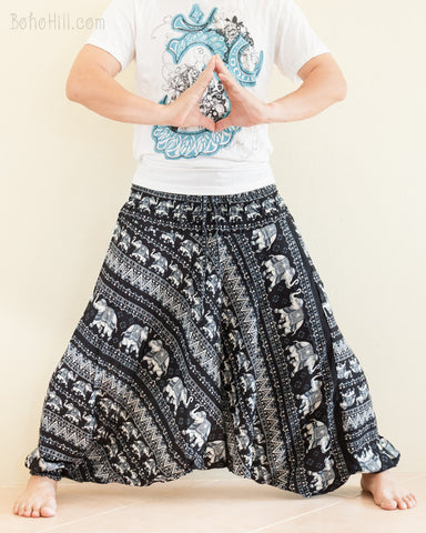 Elephant Tribal ZigZag Harem Pants Unisex Low Crotch Yoga Trousers Black Gray lotus