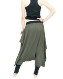 Tribal Low Crotch Baggy Tobi Pants Stretch Jersey Cotton (Olive Green) back