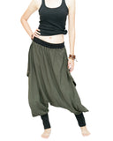 Tribal Low Crotch Baggy Tobi Pants Stretch Jersey Cotton (Olive Green) front