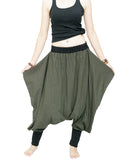 Tribal Low Crotch Baggy Tobi Pants Stretch Jersey Cotton (Olive Green) wings