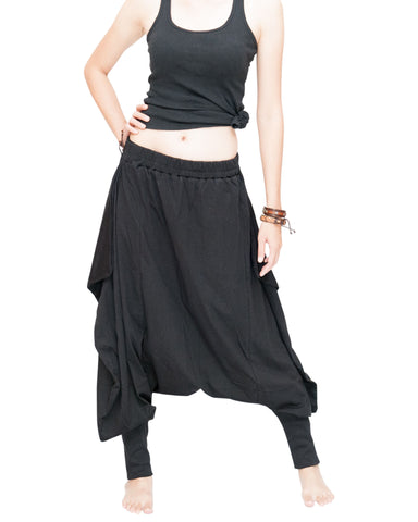 Tribal Low Crotch Baggy Tobi Pants Stretch Jersey Cotton (Black) front