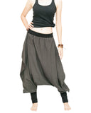 Tribal Low Crotch Baggy Tobi Pants Stretch Jersey Cotton (Charcoal) front