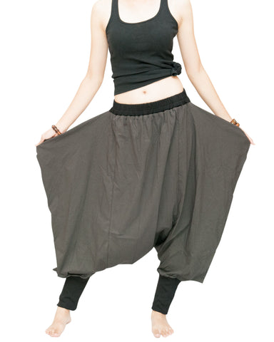 Tribal Low Crotch Baggy Tobi Pants Stretch Jersey Cotton (Charcoal) wings