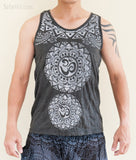 Tribal Mandalas Om Unisex Original Tattoo Yoga Tank Top Normal Cut Vest Granite Black BohoHill front