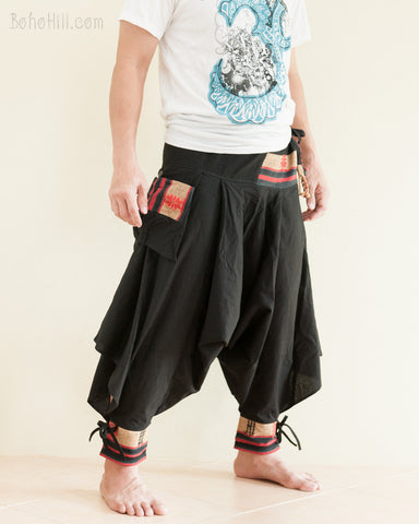 Tribal Warrior Low Crotch Yoga Harem Pants Solid Black II side