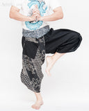 tribal samurai ninja capri pants indigo dye wrap around fold over waist airy flexible martial art yoga trousers black japanese waves designs dance