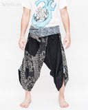 tribal samurai ninja capri pants indigo dye wrap around fold over waist airy flexible martial art yoga trousers black japanese waves designs front