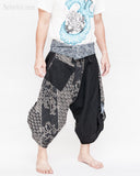 tribal samurai ninja capri pants indigo dye wrap around fold over waist airy flexible martial art yoga trousers black japanese waves designs side