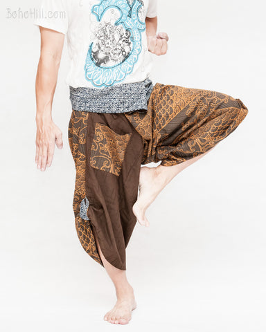 tribal samurai warrior active hakama pants ninja cropped flexible pants indigo fold over waist loose yoga trousers unique handmade fine stripes textured brown japanese waves fight