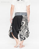 tribal samurai warrior active pants ninja cropped flexible pants indigo fold over waist loose yoga trousers japanese hakama abstract motif black and white back