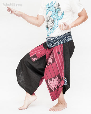 tribal samurai warrior active pants ninja cropped flexible pants indigo fold over waist loose yoga trousers japanese hakama fighter burgundy red warrior weave fight