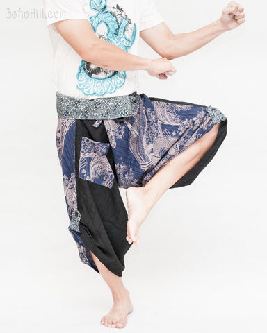 tribal samurai warrior active pants ninja cropped flexible pants indigo fold over waist loose yoga trousers japanese hakama textured blue fish river waves fight