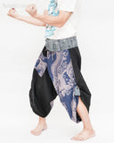 tribal samurai warrior active pants ninja cropped flexible pants indigo fold over waist loose yoga trousers japanese hakama textured blue fish river waves side