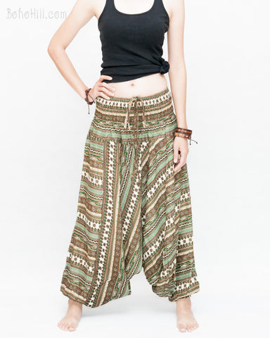 Tribal Stripes Harem Pants Low Crotch Baggy Yoga Trousers (Green Brown) front