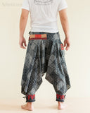Tribal Warrior Harem Ninja Pants Hmong Low Crotch Unisex Trousers Japanese Patch back