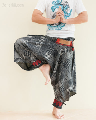 Tribal Warrior Harem Ninja Pants Hmong Low Crotch Unisex Trousers Japanese Patch dance