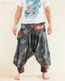 Tribal Warrior Harem Ninja Pants Hmong Low Crotch Unisex Trousers Japanese Patch front
