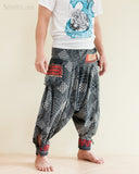 Tribal Warrior Harem Ninja Pants Hmong Low Crotch Unisex Trousers Japanese Patch side