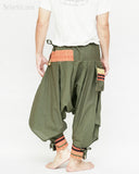 tribal warrior low crotch yoga harem pants solid military olive green embroidery trim samurai trousers back