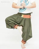 tribal warrior low crotch yoga harem pants solid military olive green embroidery trim samurai trousers dance