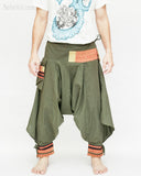 tribal warrior low crotch yoga harem pants solid military olive green embroidery trim samurai trousers front