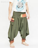 tribal warrior low crotch yoga harem pants solid military olive green embroidery trim samurai trousers side