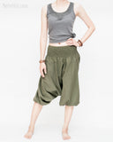 tropical baggy capri low crotch short aladdin harem pants elastic shirred waist cuff leg handmade unisex flexible soft light cotton plain solid olive green lean