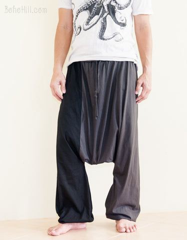 Two Tone Unisex Drop Crotch Harem Bloomers Pants Jersey Cotton Gray front