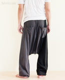 Two Tone Unisex Drop Crotch Harem Bloomers Pants Jersey Cotton Gray rear
