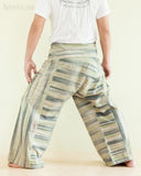 Unique Handwoven Cotton Banana Green Patchwork Fisherman Pants (JM36) back