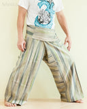 Unique Handwoven Cotton Banana Green Patchwork Fisherman Pants (JM36) right