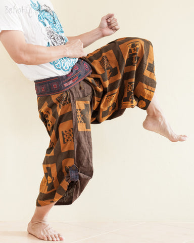 Unique Wrap Around Samurai Harem Pants Brown Ancient Chinese Size M/L kick