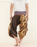 Size M/L Unique Wrap Around Samurai Harem Pants (Brown Oriental Tribal) back