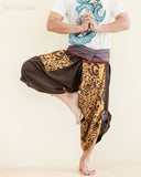 Size M/L Unique Wrap Around Samurai Harem Pants (Brown Oriental Tribal) dance