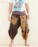 Size M/L Unique Wrap Around Samurai Harem Pants (Brown Oriental Tribal) front