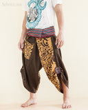 Size M/L Unique Wrap Around Samurai Harem Pants (Brown Oriental Tribal) side