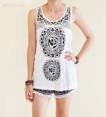 Unisex Shirt - Size L Tribal Mandalas Om Unisex Yoga Tank Top Normal Cut (White)